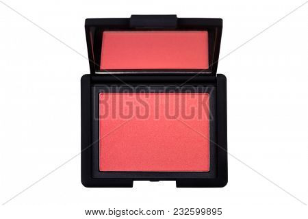 Blush in pink coral shades, cosmetic with golden shimmer for cheeks. New Make up in black package isolated on white background