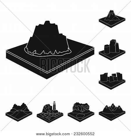 Mountains, Massive Black Icons In Set Collection For Design. The Surface Of The Earth Vector Isometr