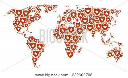 International Map Pattern Combined Of Guard Design Elements. Vector Guard Icons Are Organized Into M