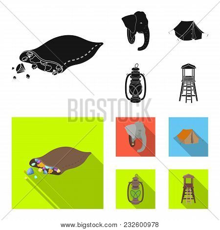 A Bag Of Diamonds, An Elephant Head, A Kerosene Lamp, A Tent. African Safari Set Collection Icons In