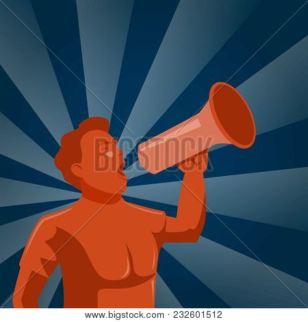 Man Announcing Through Megaphone Advertising, Vector Promo Illustration, Sign