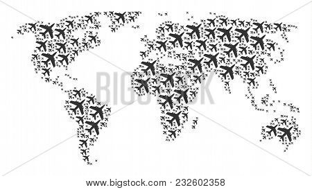 Worldwide Atlas Concept Done Of Jet Plane Icons. Vector Jet Plane Design Elements Are Combined Into