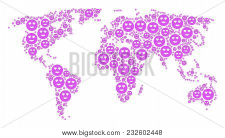 World Map Pattern Organized Of Lady Love Smiley Elements. Vector Lady Love Smiley Items Are Composed