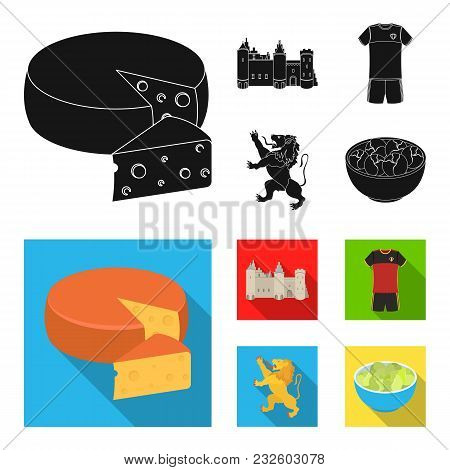 Cheese, Lion And Other Symbols Of The Country.belgium Set Collection Icons In Black, Flat Style Vect