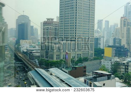 Bangkok, Thailand - March 12, 2018: Cityscape Of Modern Office Building & Railway Of Bts Sky Train M