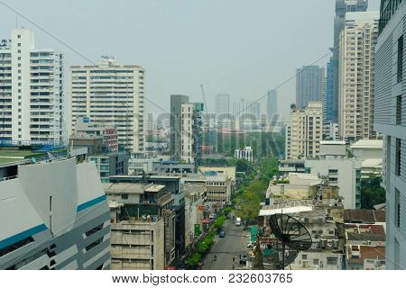 Bangkok, Thailand - March 12, 2018: Cityscape Of Modern Office Building In Asoke-sukhumvit Area In B