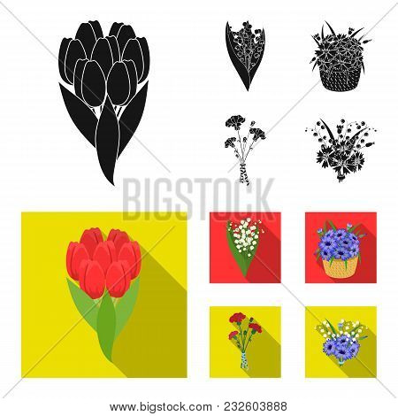 A Bouquet Of Fresh Flowers Black, Flat Icons In Set Collection For Design. Various Bouquets Vector S
