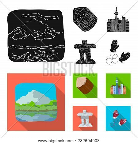 Lakes, Mountains, The Tower Of Si-en And Other Symbols Of Canada.canada Set Collection Icons In Blac