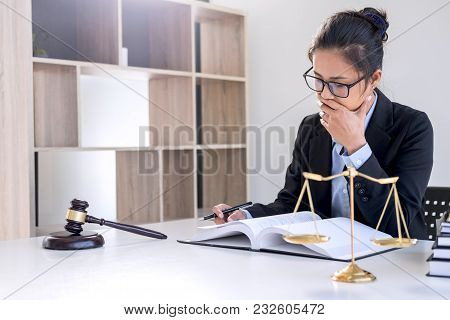 Legal Law, Advice And Justice Concept, Professional Female Lawyers Working On Courtroom Sitting At T