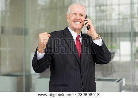Closeup Portrait Of Cheerful Senior Business Man Looking At Camera, Celebrating Success And Calling