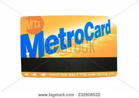 New York, Usa - June 7: New York City Mta Metro Card Isolated On White Background. Standard Recharge