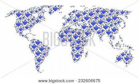 Global Atlas Concept Designed Of Paint Bucket Design Elements. Vector Paint Bucket Icons Are United