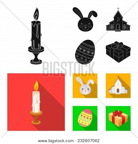 Church, Candle, Easter Bunny And Painted Egg.easter Set Collection Icons In Black, Flat Style Vector