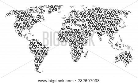 International Map Collage Created Of Percent Design Elements. Vector Percent Pictograms Are Combined