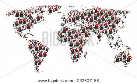 Continental Atlas Collage Created Of Person Stress Strike Pictograms. Vector Person Stress Strike De