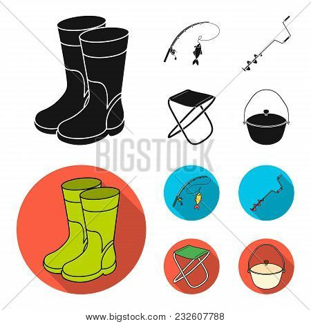 Fishing, Fish, Catch, Fishing Rod .fishing Set Collection Icons In Black, Flat Style Vector Symbol S