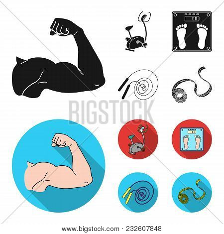 Biceps, Exercise Bike, Scales For Weighing, Skalka. Fitnes Set Collection Icons In Black, Flat Style