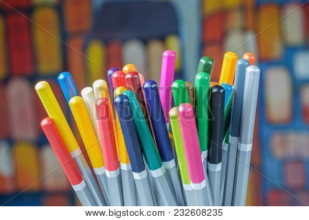 Set Of Color Drawing Pencils With Colorful Background