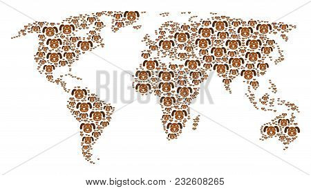 Earth Atlas Concept Combined Of Puppy Design Elements. Vector Puppy Items Are Composed Into Geometri