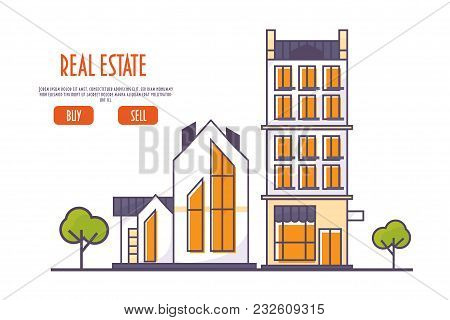 Linear Or Line Art Style Vector Illustration For Real Estate Agency: Cityscape With Residential And