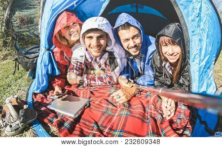 Best Friends Couples Taking Selfie At Camping Tent On Sunny Day After The Rain - Youth And Freedom C