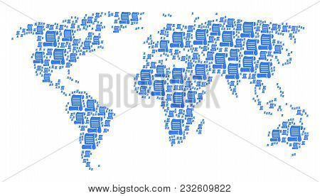 Geographic Map Collage Combined Of Script Roll Design Elements. Vector Script Roll Items Are United