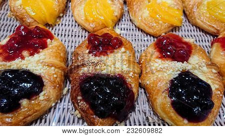 Delicious Mixed Berry Danish. Mixed Berry Danish Sold In Bakeries.