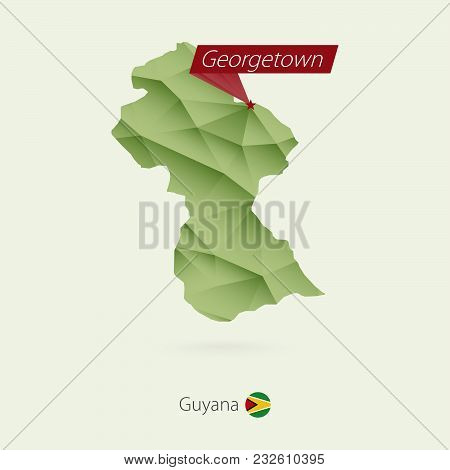 Green Gradient Low Poly Map Of Guyana With Capital Georgetown