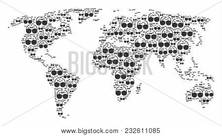 Geographic Map Collage Designed Of Spectacles Design Elements. Vector Spectacles Elements Are Compos