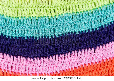 Crocheted Multi Colored Striped Fabric Texture For Background