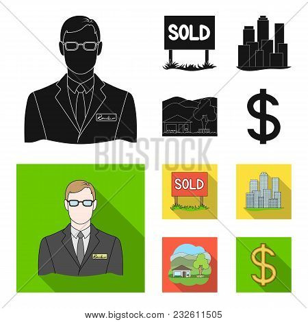 Employee Of The Agency, Sold, Metropolis, Country House. Realtor Set Collection Icons In Black, Flat
