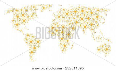Continent Map Concept Made Of Sun Pictograms. Vector Sun Pictograms Are Composed Into Conceptual Con