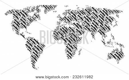Continental Atlas Pattern Combined Of Surgery Knife Elements. Vector Surgery Knife Icons Are Compose
