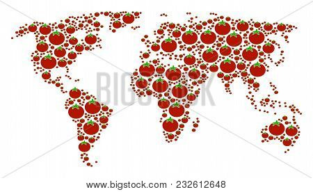 Continental Map Collage Made Of Tomato Vegetable Elements. Vector Tomato Vegetable Design Elements A