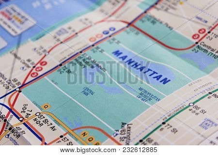 New York, Ny, Usa - June 7: New York City Subway Map. Metro Map Of Nyc With Manhattan Central Park A