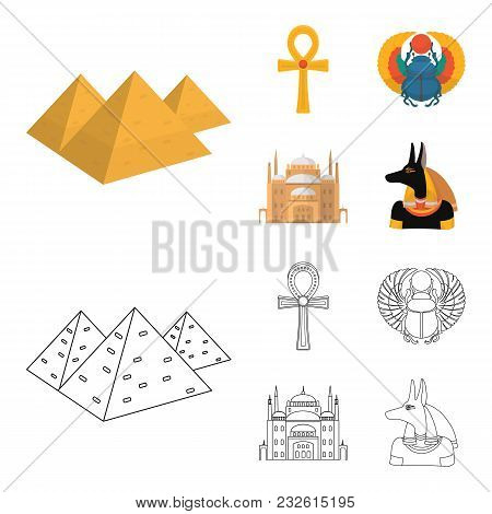 Anubis, Ankh, Cairo Citadel, Egyptian Beetle.ancient Egypt Set Collection Icons In Cartoon, Outline
