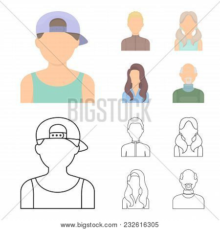 Boy Blond, Bald Man, Girl With Tails, Woman.avatar Set Collection Icons In Cartoon, Outline Style Ve