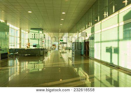 Boarding Lounge In Barcelona International Airport El Prat Interior . Airport Is One Of The Biggest