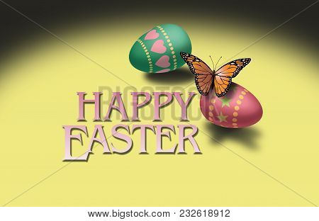 Graphic Illustration Of Monarch Butterfly Resting On Decorated Easter Egg With Typographic Sentiment