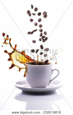Cup Of Black Espresso Coffee With Sketch On White Background And Falling Isolated Grains