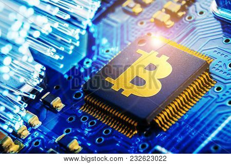 ?oncept Of Bitcoin Mining. World Electronic Currency.
