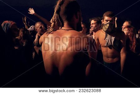 Ukraine - Kamianets Podilskyi September 02, 2017 Man Looking At The Crowd During The Show On The Res
