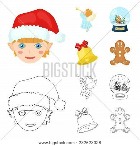 Angel, Glass Bowl, Gingerbread And Bell Cartoon, Outline Icons In Set Collection For Design. Christm