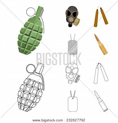 Gas Mask, Nunchak, Ammunition, Soldier Token. Weapons Set Collection Icons In Cartoon, Outline Style