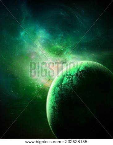 A Green Galaxy Background With Nebula, Stars And A Planet.