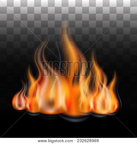 A Fiery Flame. Fire In The Fireplace, A Fire. Isolated On A Transparent Background. Vector Illustrat