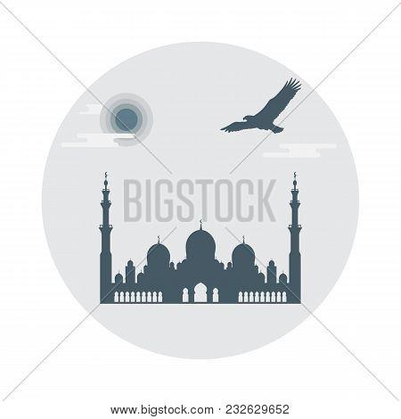 United Arab Emirates Symbols. Sheikh Zayed Mosque Silhouette And Soaring Falcon. Abu Dhabi. Design F