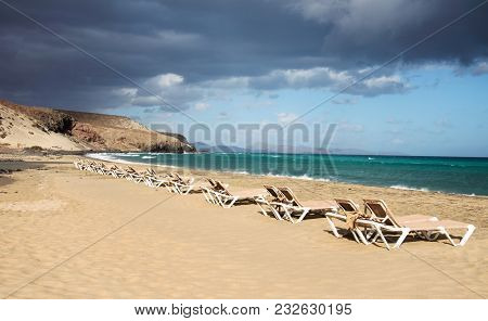a view of the Malnombre Beach in Fuerteventura, Canary Islands, Spain
