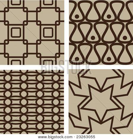 Set of brown seamless patterns