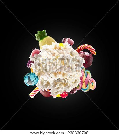 Whipped Round Cream With Colored Sweets, Jelly And Candies Isolated. Sweet Life Concept. Sweet Desse